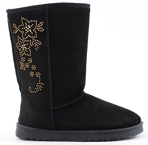 [Furry Vegan Shearling Suede Fleece Women's Flat Boot] (Furry Boots Cheap)