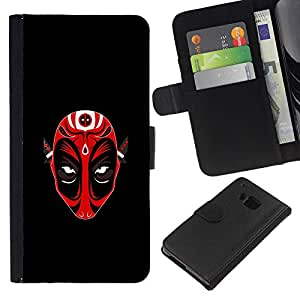 KLONGSHOP // Tirón de la caja Cartera de cuero con ranuras para tarjetas - Máscara Roja Demen Diablo - HTC One M7 //