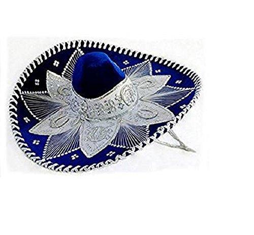 Royal Blue and White Mariachi Sombrero Hat Silver Trim Ad...