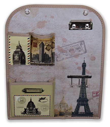 World Travel Themed Wall Hanging Organizer | Wall Hanging Locker Organizer With Key Holders, Clip Board, and Pockets | Attractive Design Endless Applications