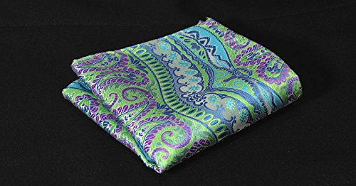 Amedeo Exclusive Men/'s Italian Silk Self Tie Bow Tie with Matching Pocket Square Handkerchief Green /& Purple Paisley