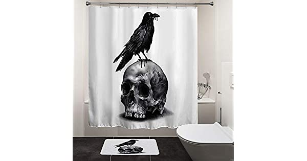 Baño de patrón de esqueleto de Halloween Divertido Cortina Con Ganchos Cráneo Cortina De Ducha