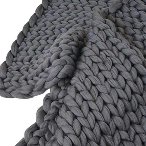 Han Shi Warm Blanket, Hand Knitted Chunky Blanket Thick Bulky Knitting Sofa Mat 100120cm (Dark Gray, L)