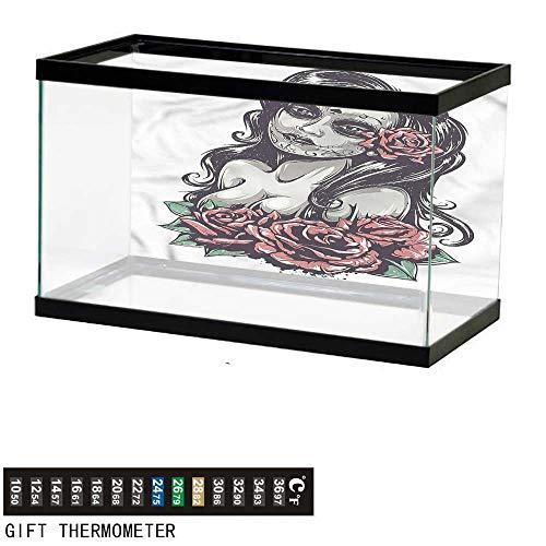Clam Fish Shelter - bybyhome Fish Tank Backdrop Girls,Sexy Girl Mexican Sugar Skull,Aquarium Background,24