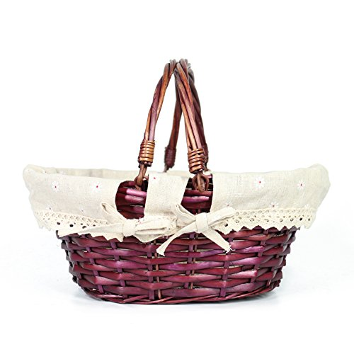 Great Deal! MEIEM Easter Basket Gift Basket Oval Willow Basket with Double Drop Down Handles Cheap W...