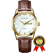 BRIGADA Swiss watches Classic Gold Waterproof Business Casual Quartz Watch for Men Boys, Great Gift for Someone or Yourself (whitegold)