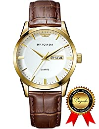 BRIGADA Swiss watches Classic Gold Waterproof Business Casual Quartz Watch for Men Boys, Great Gift for Families, Lover, Friends or Yourself (white gold)