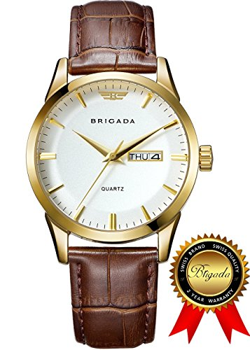 BRIGADA Swiss Watches for Men, Classic Gold Business Casual Waterproof Quartz Men's Watch, Great Gift for Someone or Yourself (2- Gold White)
