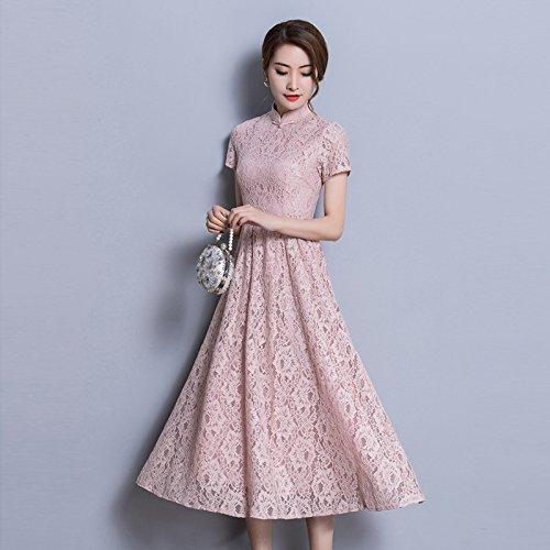Mujeres Slim Gran Vestido Las Size De Encaje Niña Vestido Pink Slim ZHUDJ Tamaño Largo Pw5xY