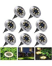 Lampy solarne na zewnątrz, lampy solarne do ogrodu i na zewnątrz, wodoodporne lampy solarne LED, oświetlenie ogrodowe, solarne do ogrodów, trawników, tarasów, chodników samochodowych, 8 sztuk (ciepła biel)
