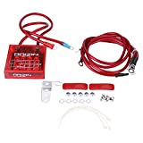 Universal 12V Digital Electric Voltage Stabilizer Kit, Fuel Saver Car Vehicle Voltage Regulator Rectifier with Earth Ground Cables and Mounting Hardware Kit for Car Truck(Red)