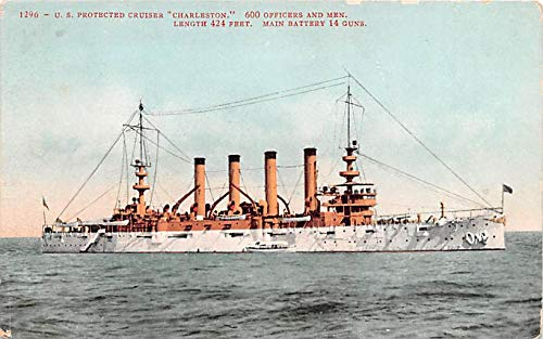 (Military Battleship Postcard, Old Vintage Antique Military Ship Post Card US Protected Cruiser Charlestown Unused)