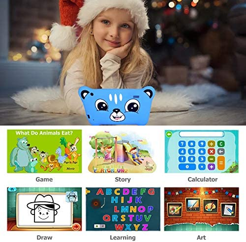 Tablet For Kids, 7 Inch Kids Tablet Android 9.0 2GB 16GB Learning Tablet With IPS Eye Protection Screen Dual Camera WiFi GMS Certified Kids Proof Children Tablets Parent Control, Blue