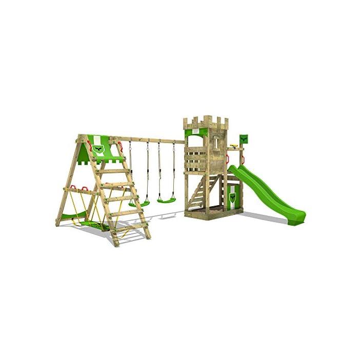 51A5cIgQqzL FATMOOSE Torre de escalada con SurfSwing, columpio doble y plataforma de juego grande - Calidad-y- seguridad verificadas Madera maciza impregnada en clave, de fácil mantenimiento - Viga de columpio de 9x9cm y postes verticales de 7x7cm Instrucciones de montaje detalladas para un montaje fácil - Cajón de arena integrado XXL - Plataforma 120cm