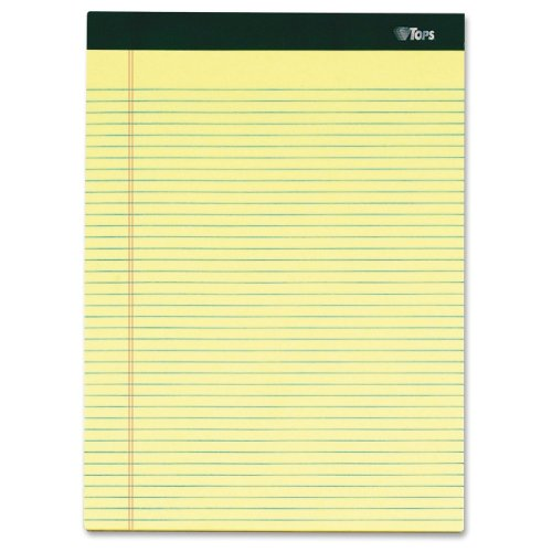 TOPS Double Docket Writing Tablet, 8-1/2 x 11-3/4 Inches, Perforated, Canary, Narrow Rule, 100 Sheets per Pad, 6 Pads per Pack (63376)