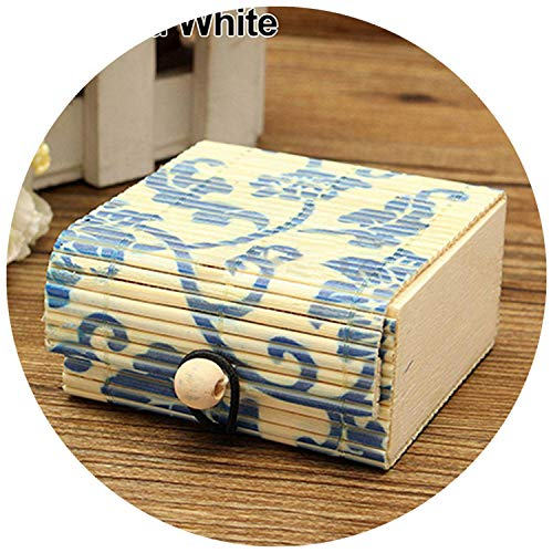 fwoeo Ring Necklace Earrings Bamboo Wooden Case Jewelry Storage Boxes Holder,Blue and White