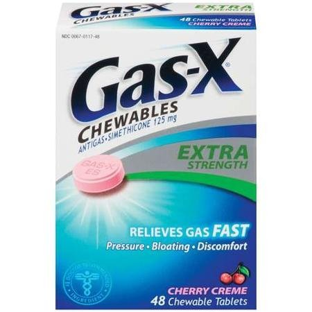 Gas-X Chewable Extra Strength Gas Relief Cherry Flavor 48 tablets - Cherry Chewable Cream Tablets
