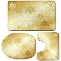 3 Piece Bath Mat Rug Set,Christmas,Bathroom Non-Slip Floor Mat,Snowflakes-Pattern-on-Gold-Color-Background-Noel-Holiday-Yule-Winter-Themed-Artsy-Image,Pedestal Rug + Lid Toilet Cover + Bath Mat,Gold
