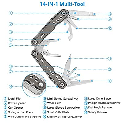 SHINE HAI Multi-Tool, 14-in-1 Stainless Steel Multi-Plier with Knife, Cable Cutter, Needle Nose Pliers, Saw, File, Screwdrivers and More, Nylon Sheath Included