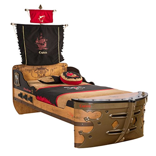 Pirate Ship Children Bed Frame, Twin, Brown
