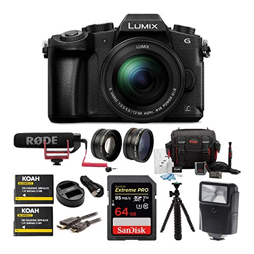 Panasonic LUMIX G85 Mirrorless Camera with 12-60mm Lens, Rode Microphone, Accessory Kit, Battery and Dual Charger, 64GB SD Card, Tripod, 2-Piece Lens Set, Digital Flash and HDMI Cable Bundle (9 items) from Panasonic