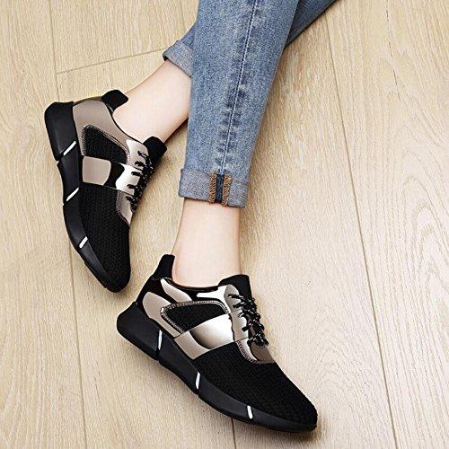 KHSKX-Die Neue Schwarze Freizeitschuhe Sport Schuhe Flat-Bottomed Dicke Studenten Schuhe Frauen Schuhe 39