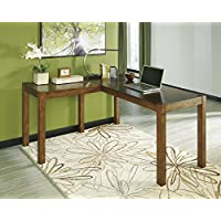 Loyink Brown L-Shape Home Office Desk