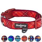 red collar - Blueberry Pet 7 Patterns Soft & Comfy Scottish Aileen Red Plaid Tartan Style Designer Padded Dog Collar, Medium, Neck 14.5