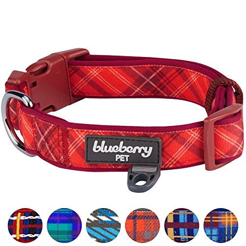 Blueberry Pet 7 Patterns Soft & Comfy Scottish Aileen Red Plaid Tartan Style Designer Padded Dog Collar, Medium, Neck 14.5