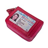 VIVOCASE Leather Credit Card Wallet RFID Credit Card Holder Secure Zipper Window Card Wallet (Red)