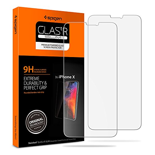 Spigen iPhone X Screen Protector [ Sensor Protection ] Tempered Glass 2 Pack for Apple iPhone X (2017)