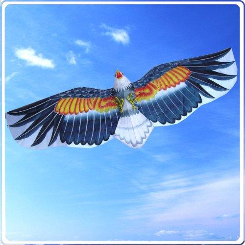3D American Bald Eagle Kite Flying Toy & Hobby Outdoor Park Beach Fun Garden Farm Defense Bird Scaring Traditional Chinese Souvenir Art & Handicraft Collectible, Navy Blue ()