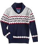 Tommy Hilfiger Toddler Boys Fair Isle Shawl-Collar Cotton Sweater Size 2T Swim Navy