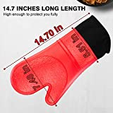 Extra Long 14.7 Inch Oven Mitts, Heat Resistant