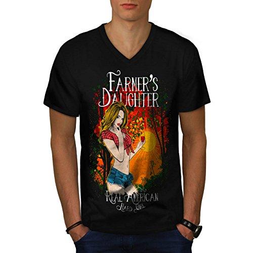 Farmer Daughter Cute Hard Girl Men NEW M V-Neck T-shirt | Wellcoda (Daisy Duke Fancy Dress)