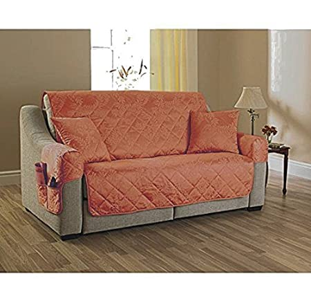 3 Seater Settee Cover Willow Terracotta, Quilted Furniture Sofa Cover /  Protector, Jacquard Vintage