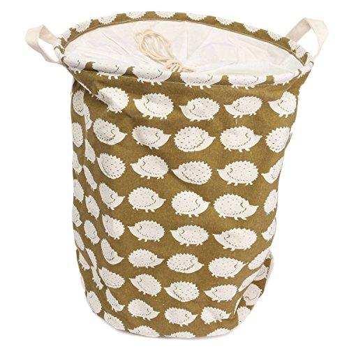 Nice KingSo Fabric Foldable Round Laundry Basket Hamper Closet Storage Bin Bag with Drawstring Cover 18 x 14 Inch