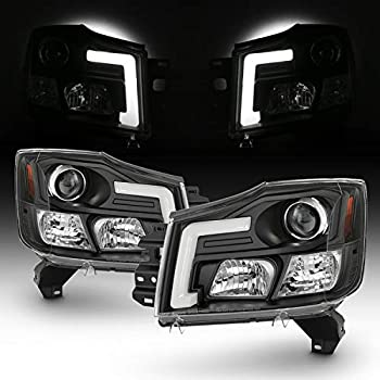 Fits 2004-2015 Titan / 04-07 Armada [C-Tube Style] LED Projector Black Headlights Left+Right Pair Set
