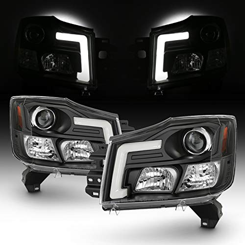 Fits 2004-2015 Titan / 04-07 Armada [C-Tube Style] LED Projector Black Headlights Left+Right Pair Set ()