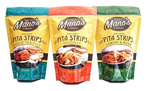Mano's Authentic Pita Chip Strips - Healthy, Thin, Bite Sized Pita Chips - 12 Pack - Original, Garlic Sea Salt, Lemon & Herb (4 Bags -