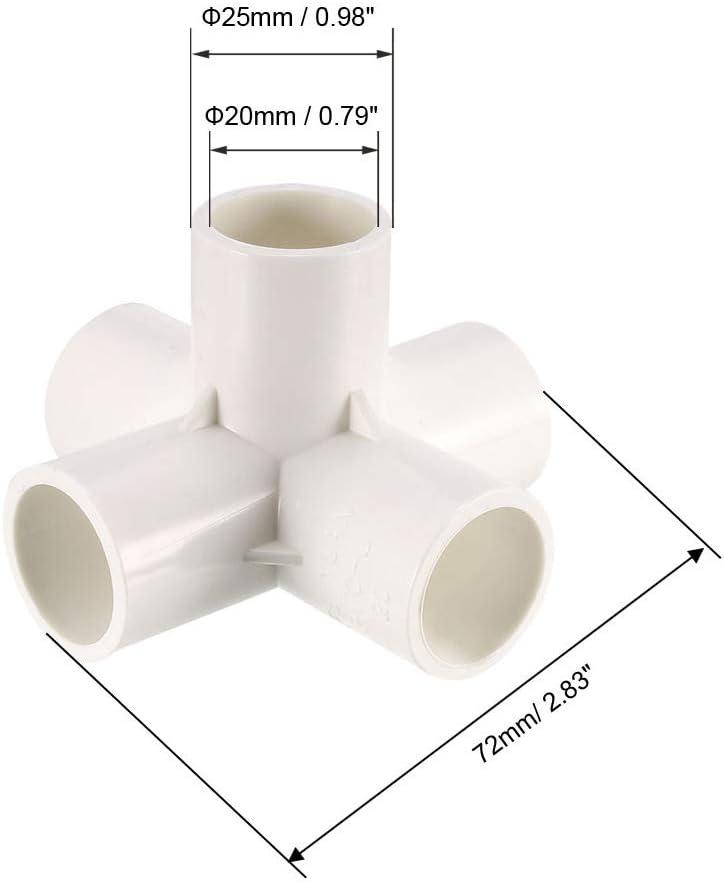 1 pieza sourcing map Codo de Conexi/ón de Pvc de 5 V/ías en T Muebles de Pvc Accesorios de Codo de Pvc para Rociadores de Irrigaci/ón Blanco 20mm