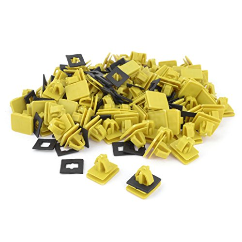 Plastic Bumper Push in Square Hole Rivet Door Trim Clips 100PCS Yellow (Spyder Toyota Skirt)