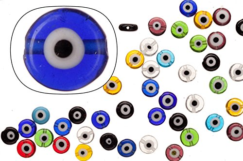 Evil Eye Beads (Glass beads, mix color pack evil eye amulet design, 8mm round plate. sold per 36cm string)