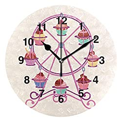 Jojogood Cupcake Round Stand Clock Wall Decor Acrylic Decorative Round Clock for Home Bedroom Living Room Art