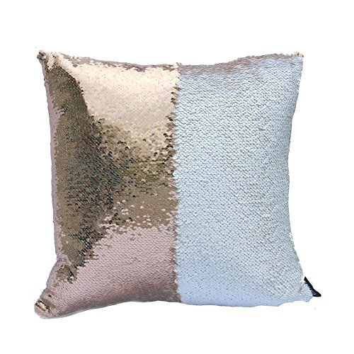 Fengheshun Reversible Sequins Pillowcase Mermaid Pillow Covers 40×40 cm Two Color Changing (White + beige)
