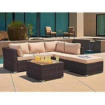 Amazon Com Giantex 4pc Patio Sectional Furniture Pe