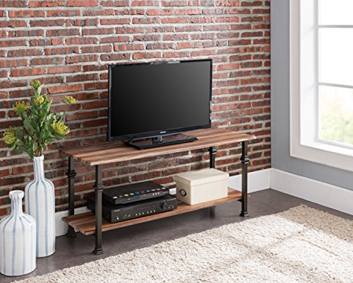 (eHomeProducts 2-tier Weathered Oak/Metal Frame Industrial Style Entertainment Plasma TV Table Stand by)