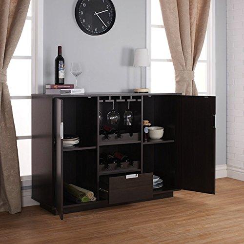 Brown Wood Sivira Modern Espresso Multi-Storage Dining Buffet by Furniture of America