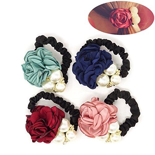 - Honbay 4PCS Korean Fashion Pearl Hair Rope Rose Flower Hair Band Elastic Hair Tie