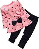 BomDeals Baby Girl Cute 2pcs Set Children Clothes Suit Top And Pants (Age(4T), Pink)